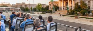 belgrad panorama 1 300x100 - Belgrade, Serbia Jun 5, 2018 - Tourists Looking At The Parliament Building While Traveling With Belg